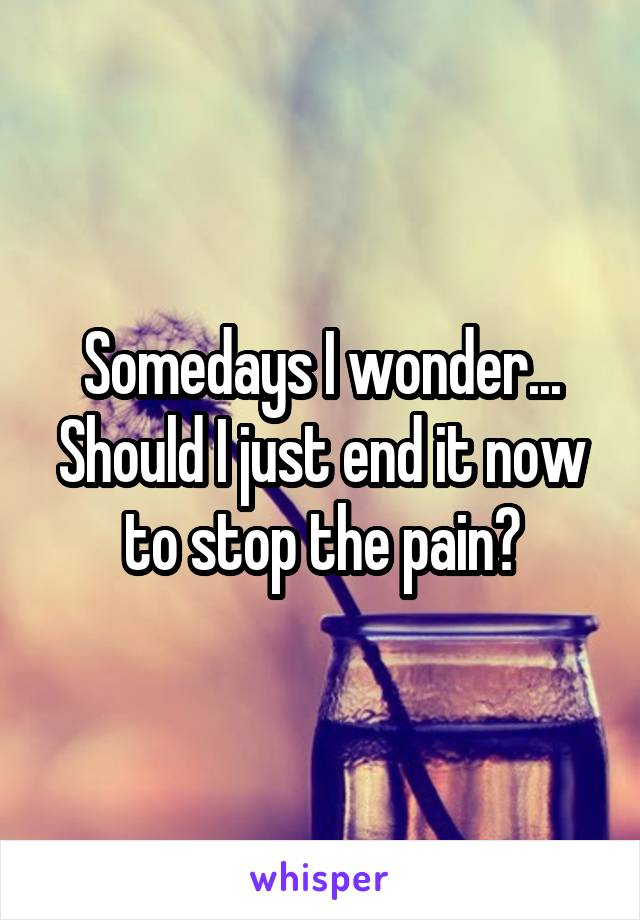 Somedays I wonder... Should I just end it now to stop the pain?