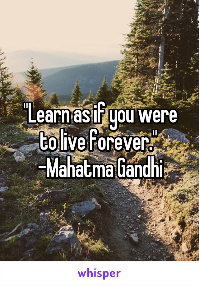 """""""Learn as if you were to live forever.""""  -Mahatma Gandhi"""