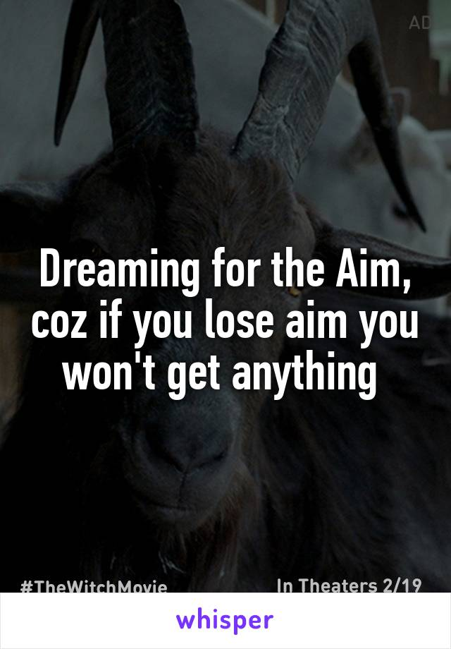 Dreaming for the Aim, coz if you lose aim you won't get anything