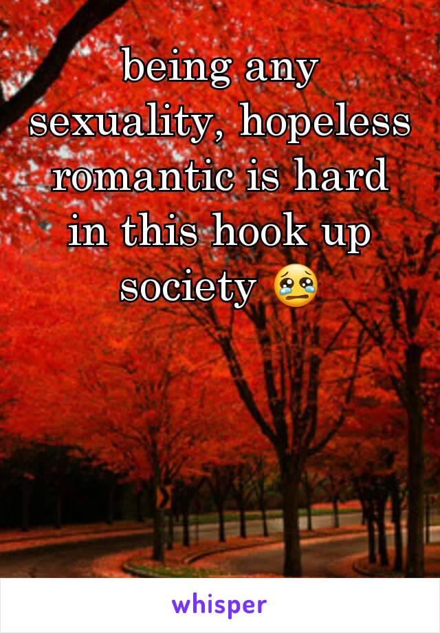 being any sexuality, hopeless romantic is hard in this hook up society 😢