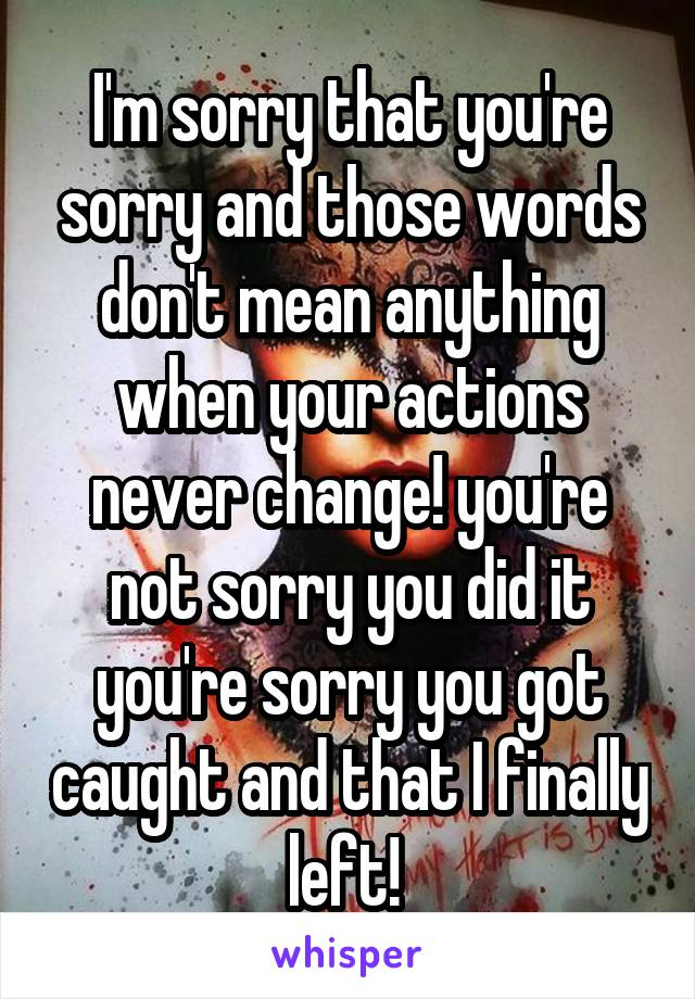 I'm sorry that you're sorry and those words don't mean anything when your actions never change! you're not sorry you did it you're sorry you got caught and that I finally left!