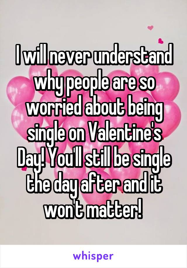 I will never understand why people are so worried about being single on Valentine's Day! You'll still be single the day after and it won't matter!