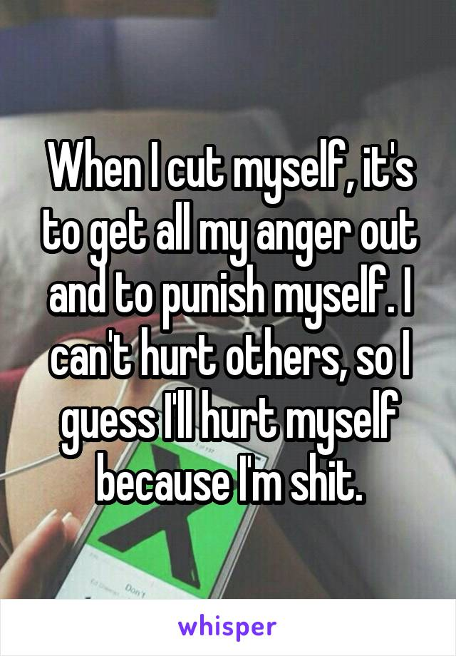 When I cut myself, it's to get all my anger out and to punish myself. I can't hurt others, so I guess I'll hurt myself because I'm shit.