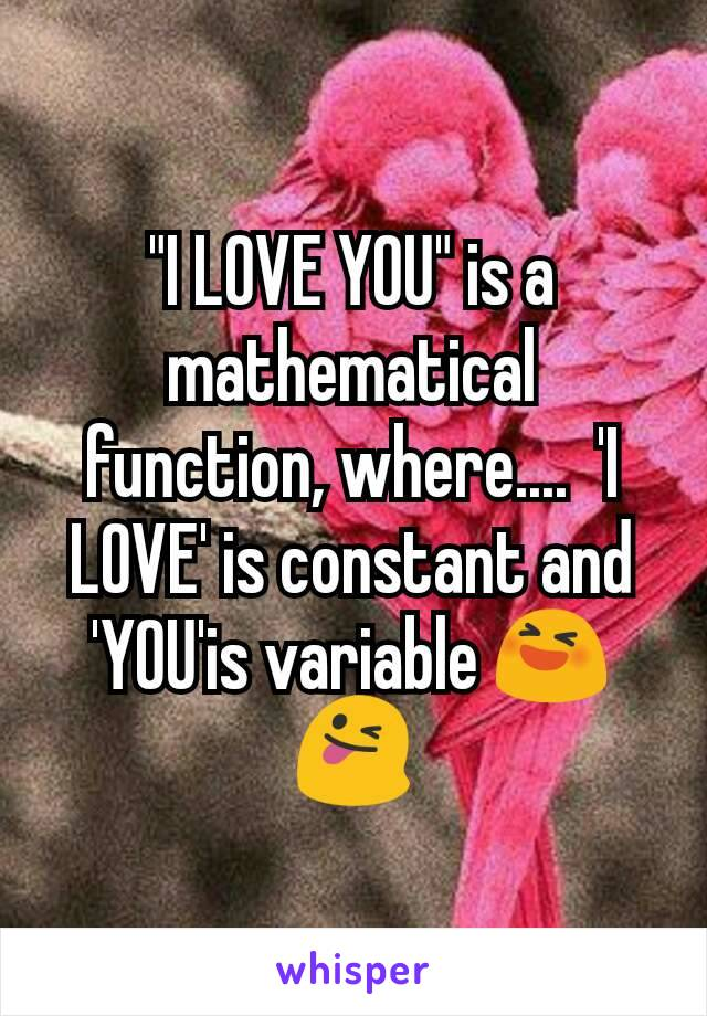 """""""I LOVE YOU"""" is a mathematical function, where....  'I LOVE' is constant and 'YOU'is variable 😆😜"""
