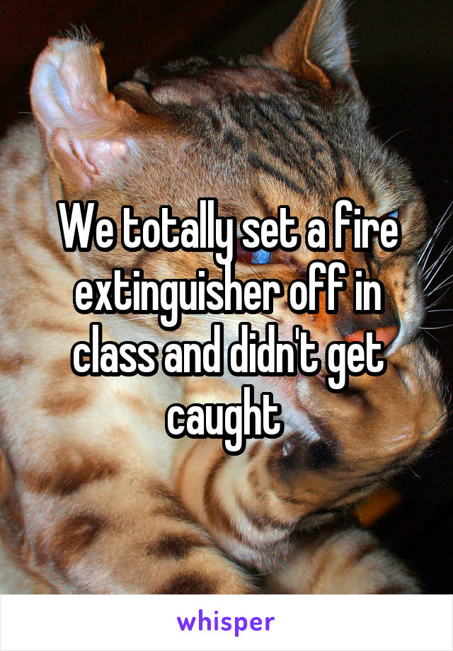 We totally set a fire extinguisher off in class and didn't get caught