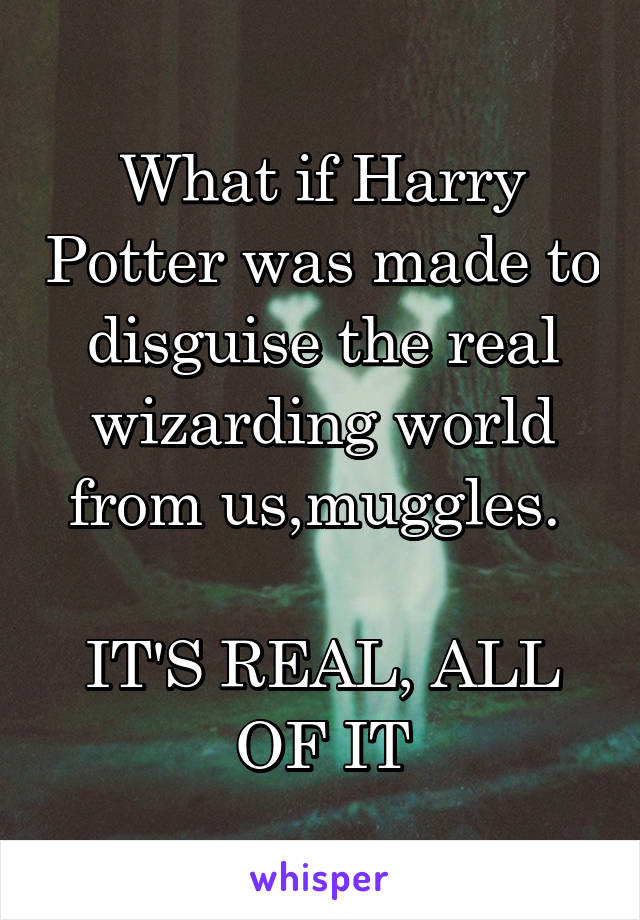 What if Harry Potter was made to disguise the real wizarding world from us,muggles.   IT'S REAL, ALL OF IT