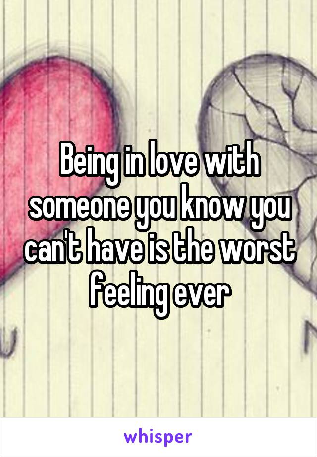 Being in love with someone you know you can't have is the worst feeling ever