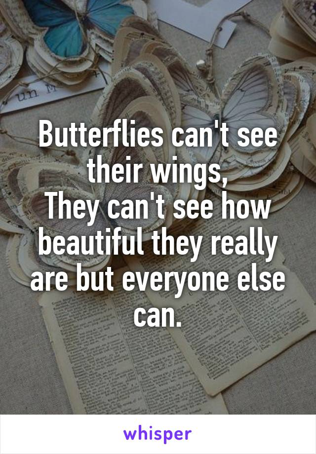 Butterflies can't see their wings, They can't see how beautiful they really are but everyone else can.