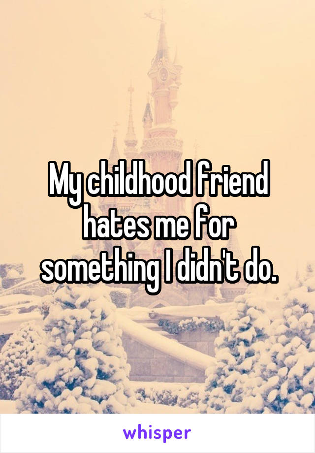 My childhood friend hates me for something I didn't do.