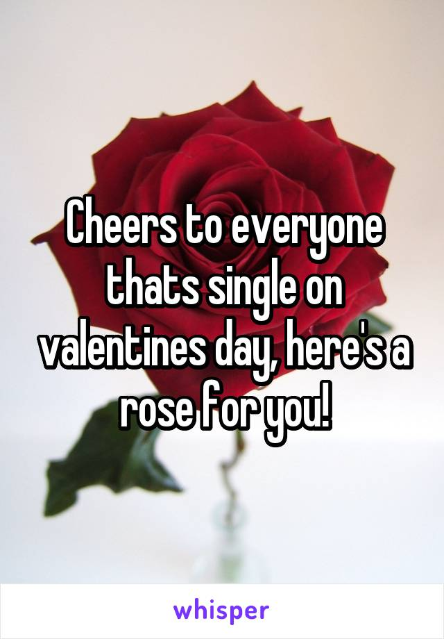 Cheers to everyone thats single on valentines day, here's a rose for you!