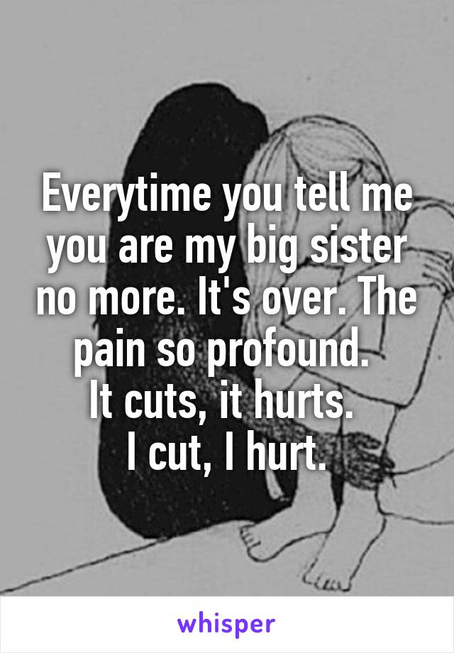 Everytime you tell me you are my big sister no more. It's over. The pain so profound.  It cuts, it hurts.  I cut, I hurt.