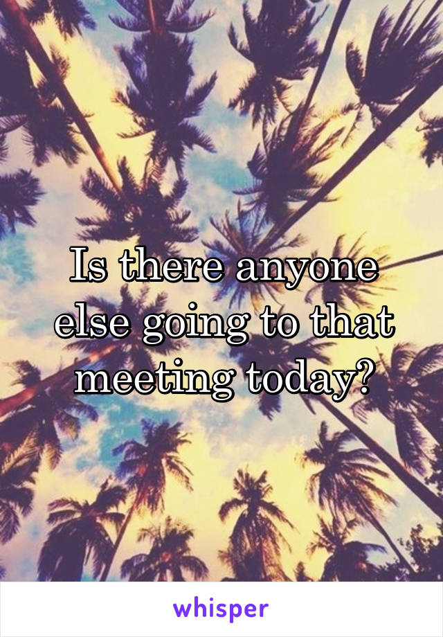 Is there anyone else going to that meeting today?