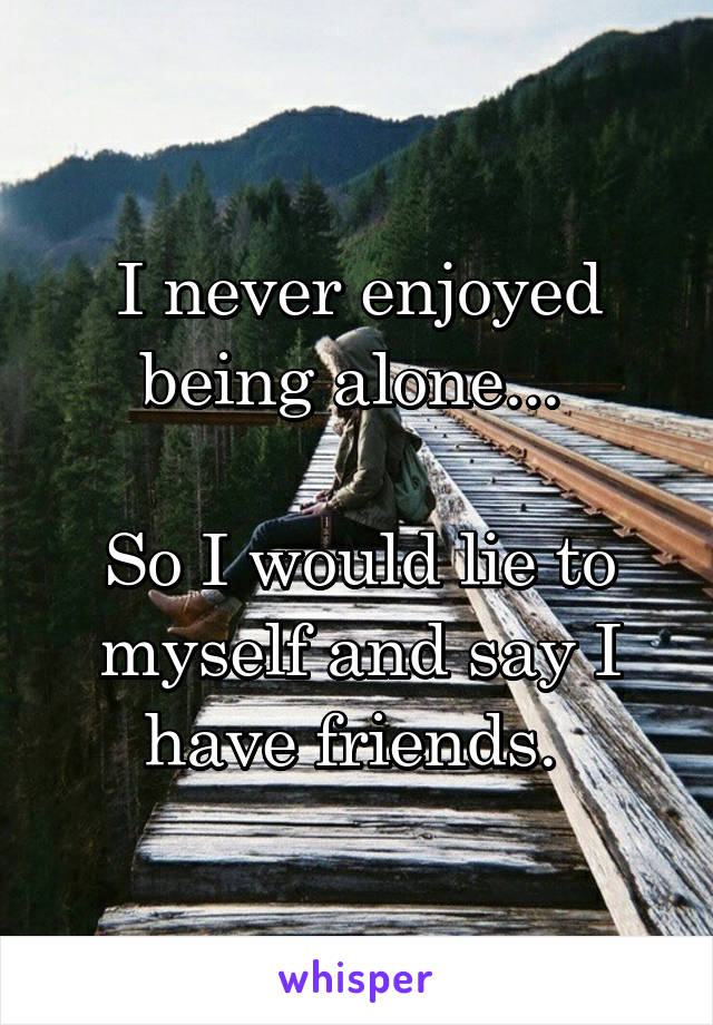 I never enjoyed being alone...   So I would lie to myself and say I have friends.