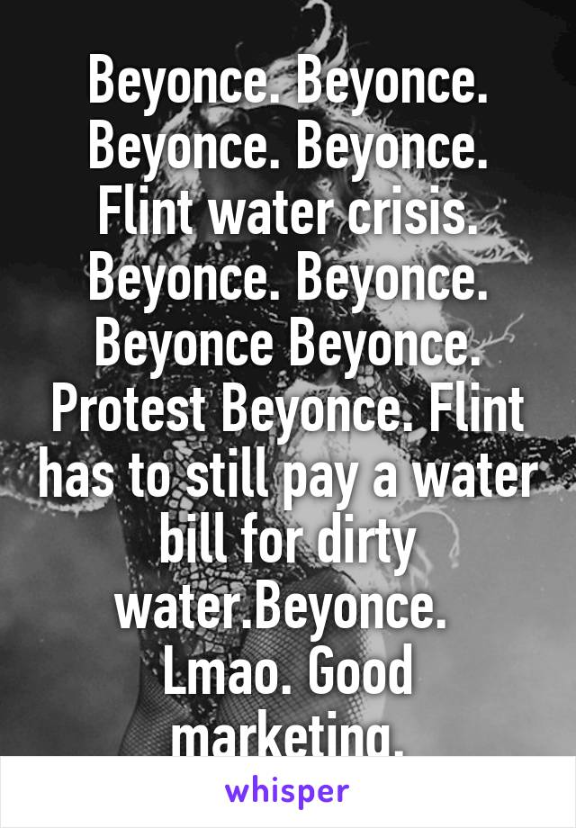 Beyonce. Beyonce. Beyonce. Beyonce. Flint water crisis. Beyonce. Beyonce. Beyonce Beyonce. Protest Beyonce. Flint has to still pay a water bill for dirty water.Beyonce.  Lmao. Good marketing.