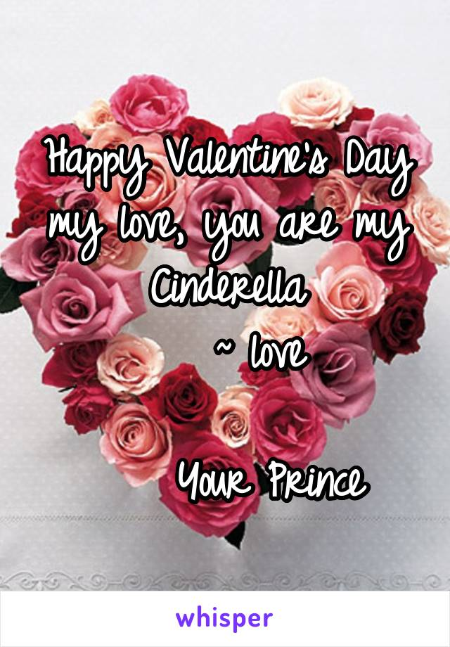 Happy Valentine's Day my love, you are my Cinderella     ~ love                          Your Prince