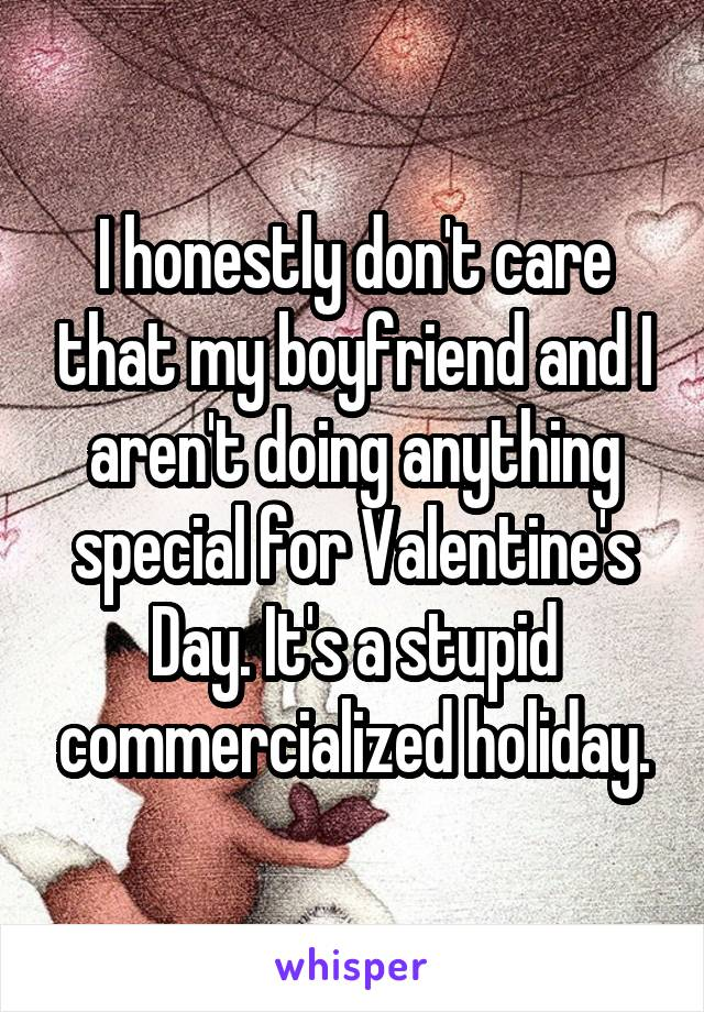 I honestly don't care that my boyfriend and I aren't doing anything special for Valentine's Day. It's a stupid commercialized holiday.