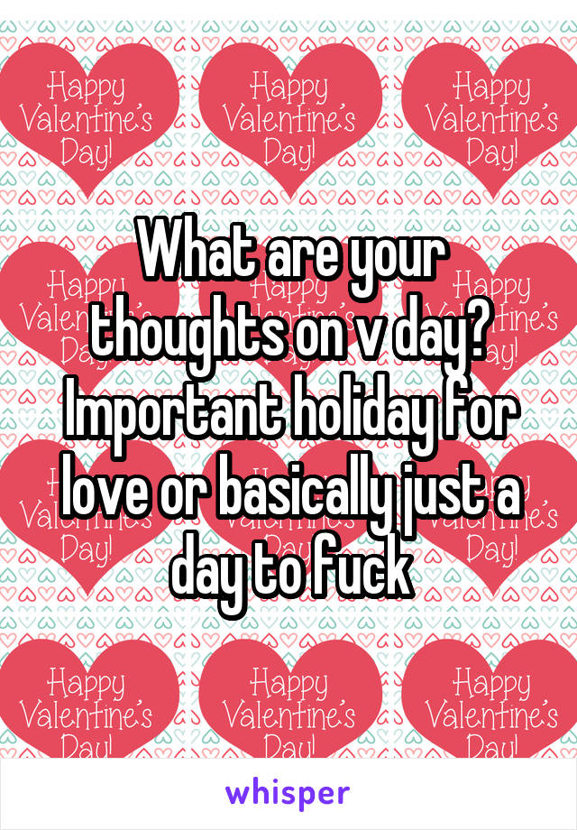 What are your thoughts on v day? Important holiday for love or basically just a day to fuck