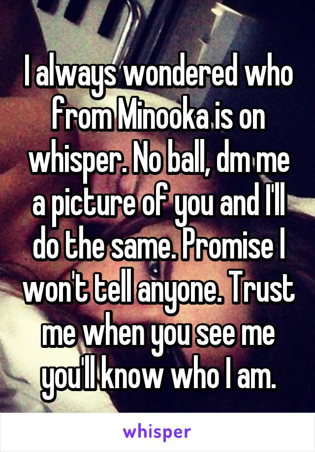 I always wondered who from Minooka is on whisper. No ball, dm me a picture of you and I'll do the same. Promise I won't tell anyone. Trust me when you see me you'll know who I am.