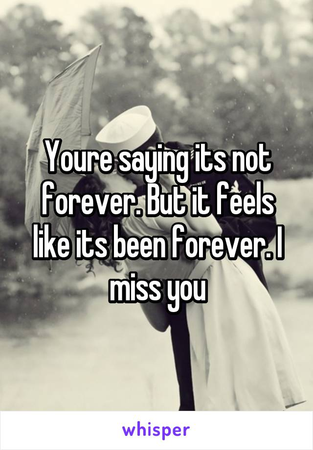 Youre saying its not forever. But it feels like its been forever. I miss you