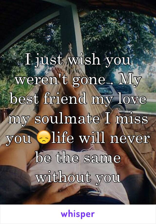 I just wish you weren't gone . My best friend my love my soulmate I miss you 😞life will never be the same without you