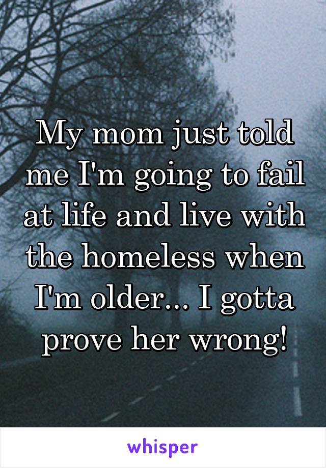 My mom just told me I'm going to fail at life and live with the homeless when I'm older... I gotta prove her wrong!