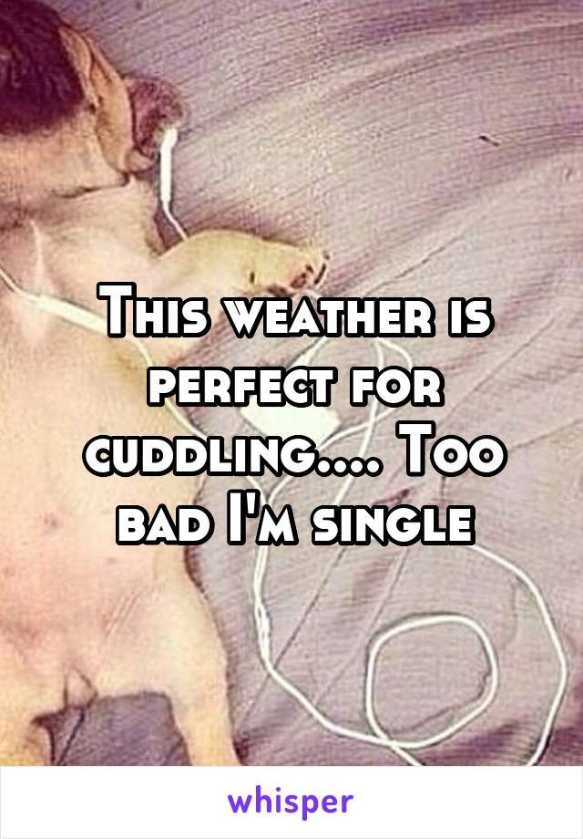 This weather is perfect for cuddling.... Too bad I'm single