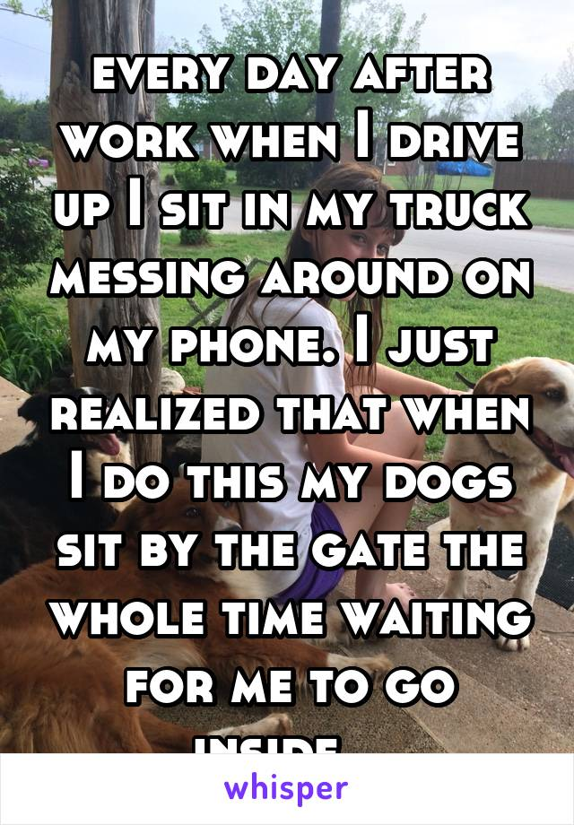 every day after work when I drive up I sit in my truck messing around on my phone. I just realized that when I do this my dogs sit by the gate the whole time waiting for me to go inside...