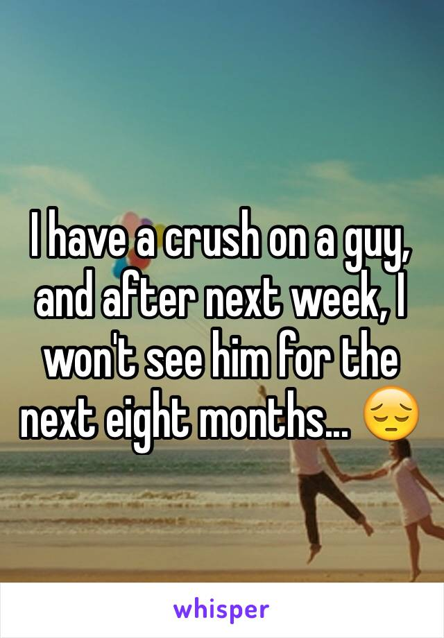 I have a crush on a guy, and after next week, I won't see him for the next eight months... 😔