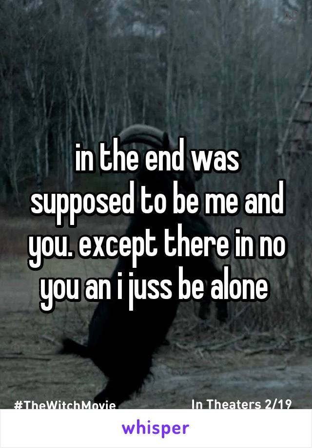 in the end was supposed to be me and you. except there in no you an i juss be alone