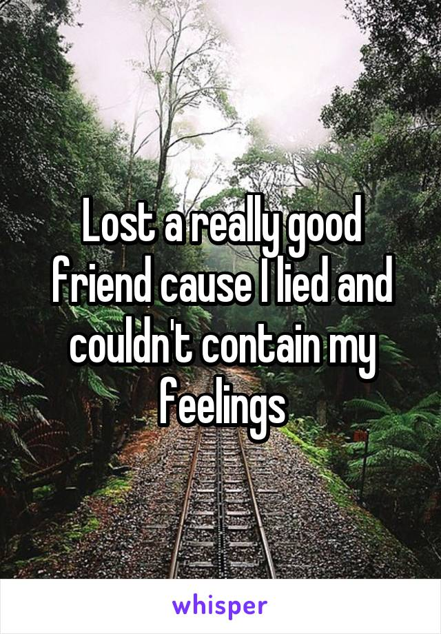 Lost a really good friend cause I lied and couldn't contain my feelings