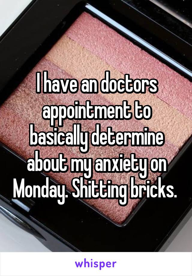 I have an doctors appointment to basically determine about my anxiety on Monday. Shitting bricks.