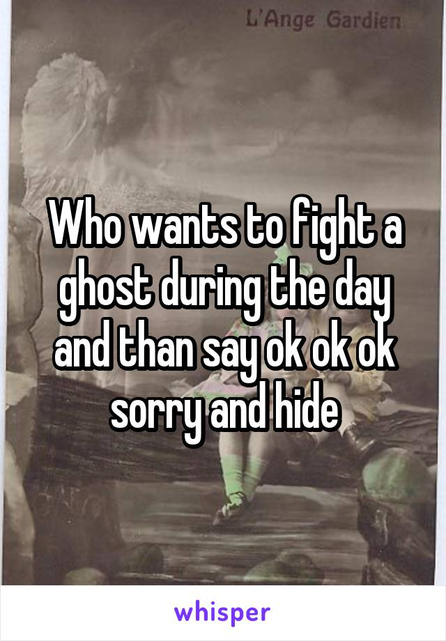 Who wants to fight a ghost during the day and than say ok ok ok sorry and hide