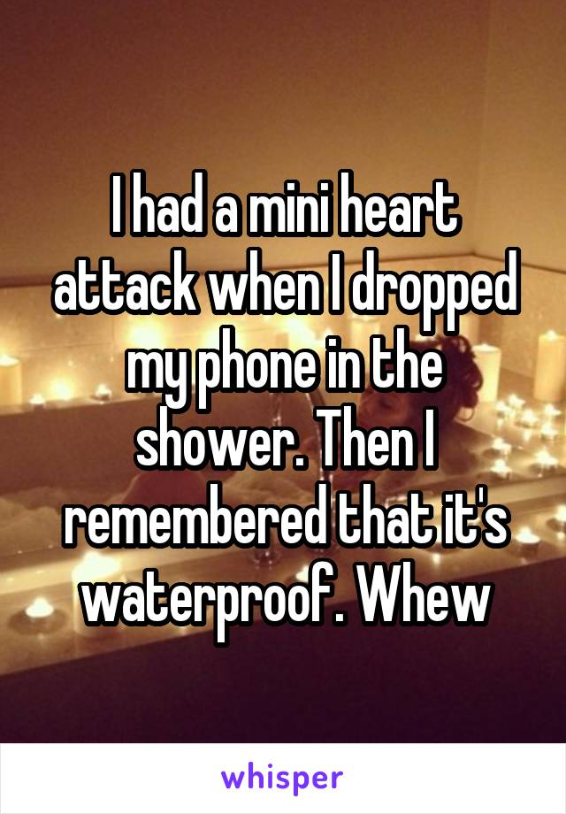 I had a mini heart attack when I dropped my phone in the shower. Then I remembered that it's waterproof. Whew