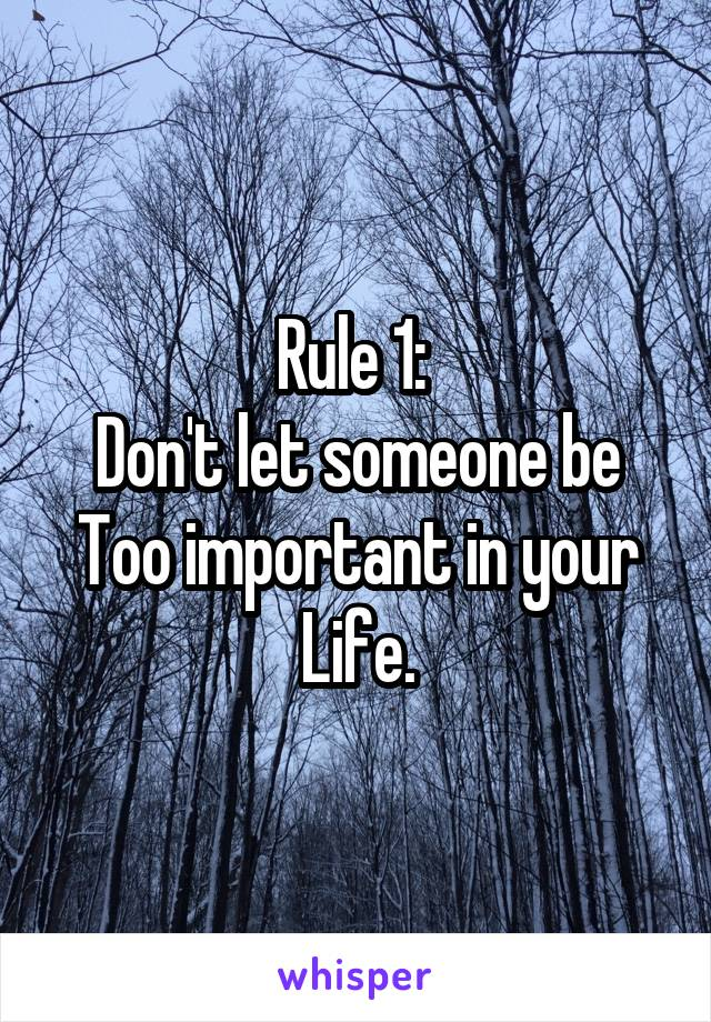 Rule 1:  Don't let someone be Too important in your Life.