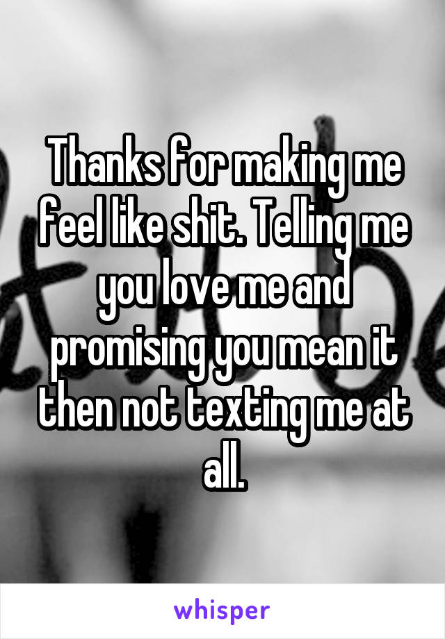 Thanks for making me feel like shit. Telling me you love me and promising you mean it then not texting me at all.