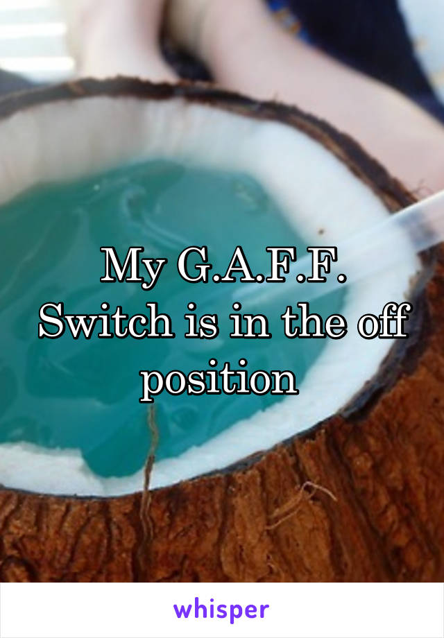 My G.A.F.F. Switch is in the off position