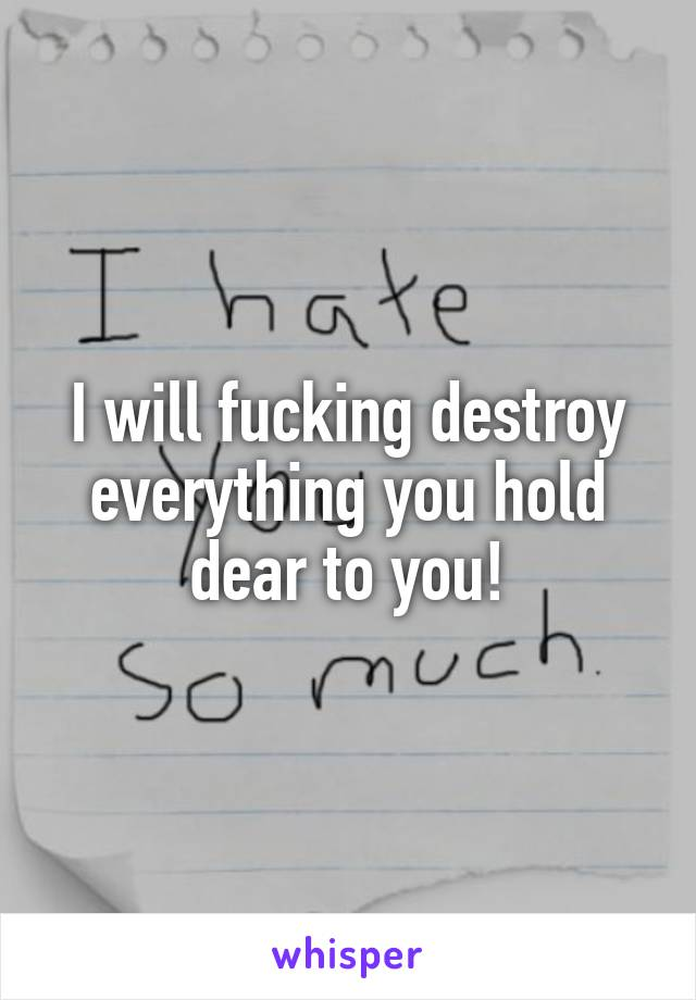 I will fucking destroy everything you hold dear to you!