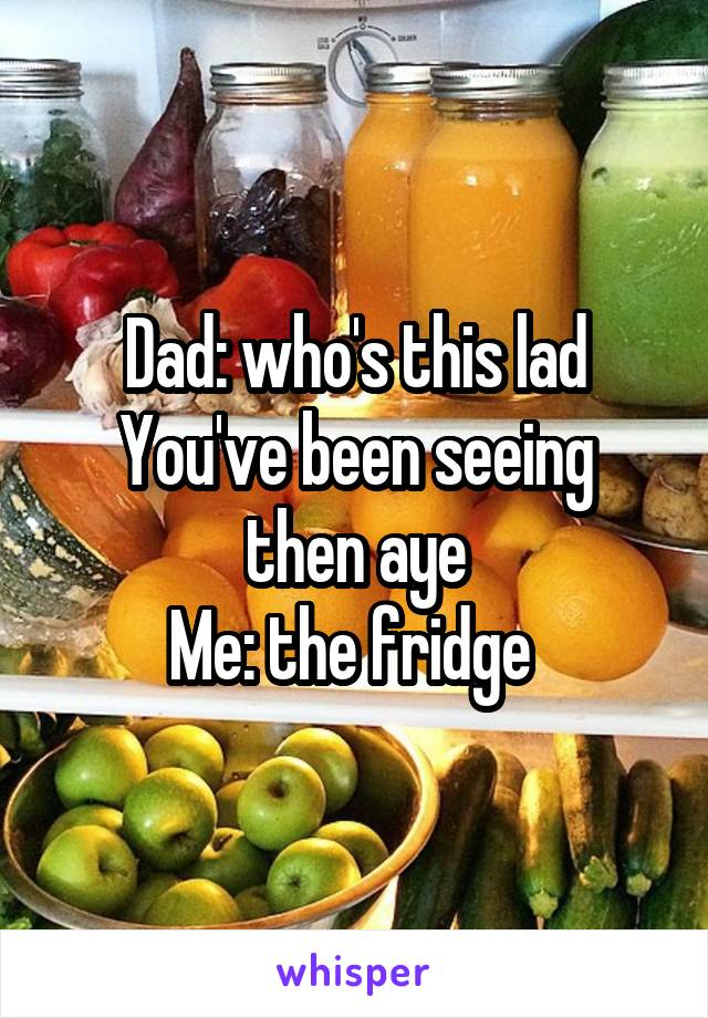 Dad: who's this lad You've been seeing then aye Me: the fridge