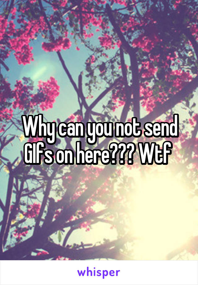 Why can you not send GIfs on here??? Wtf