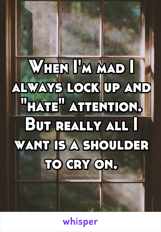 """When I'm mad I always lock up and """"hate"""" attention. But really all I want is a shoulder to cry on."""