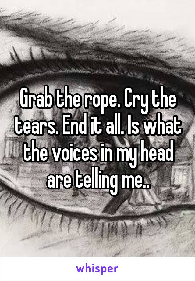 Grab the rope. Cry the tears. End it all. Is what the voices in my head are telling me..