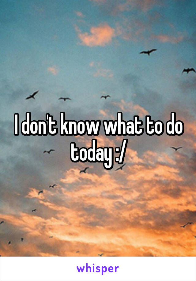 I don't know what to do today :/