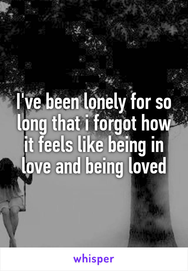 I've been lonely for so long that i forgot how it feels like being in love and being loved