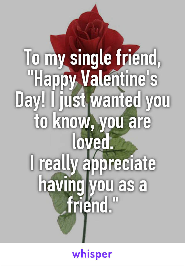 "To my single friend, ""Happy Valentine's Day! I just wanted you to know, you are loved. I really appreciate having you as a friend."""