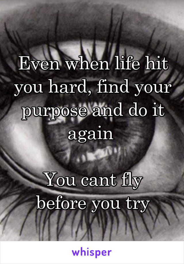 Even when life hit you hard, find your purpose and do it again   You cant fly before you try