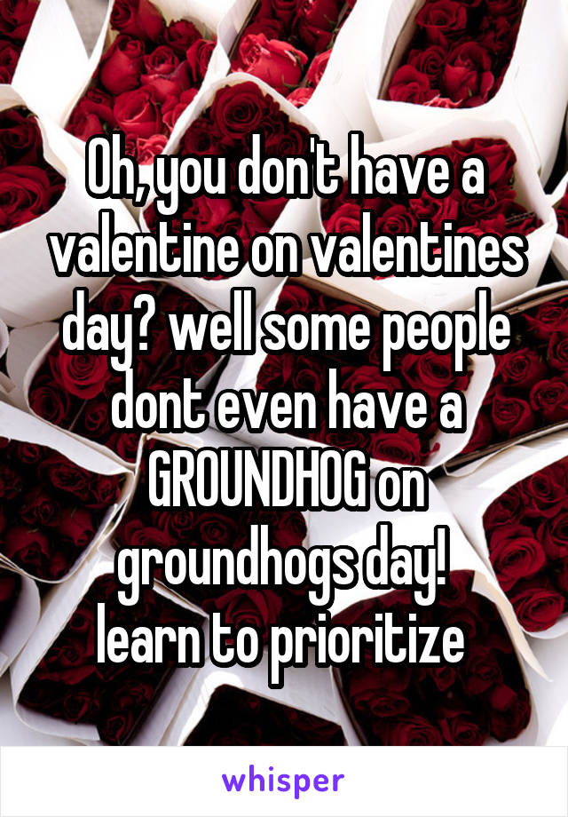 Oh, you don't have a valentine on valentines day? well some people dont even have a GROUNDHOG on groundhogs day!  learn to prioritize