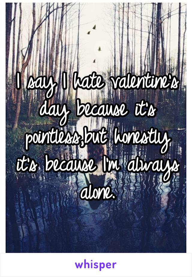 I say I hate valentine's day because it's pointless,but honestly it's because I'm always alone.
