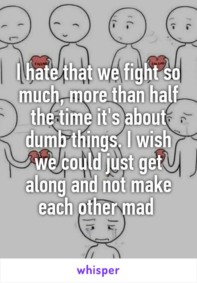 I hate that we fight so much, more than half the time it's about dumb things. I wish we could just get along and not make each other mad