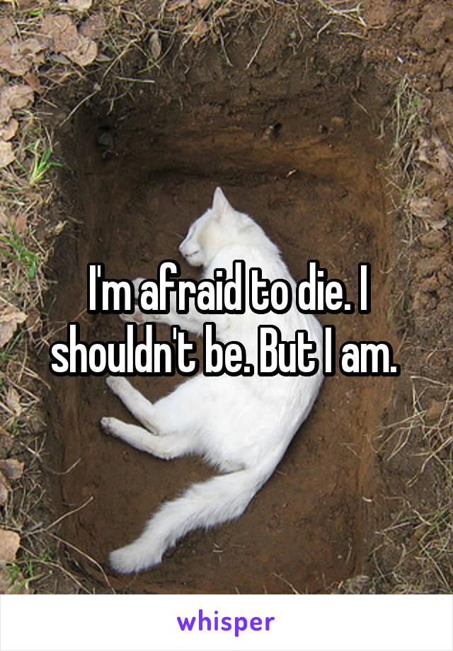 I'm afraid to die. I shouldn't be. But I am.