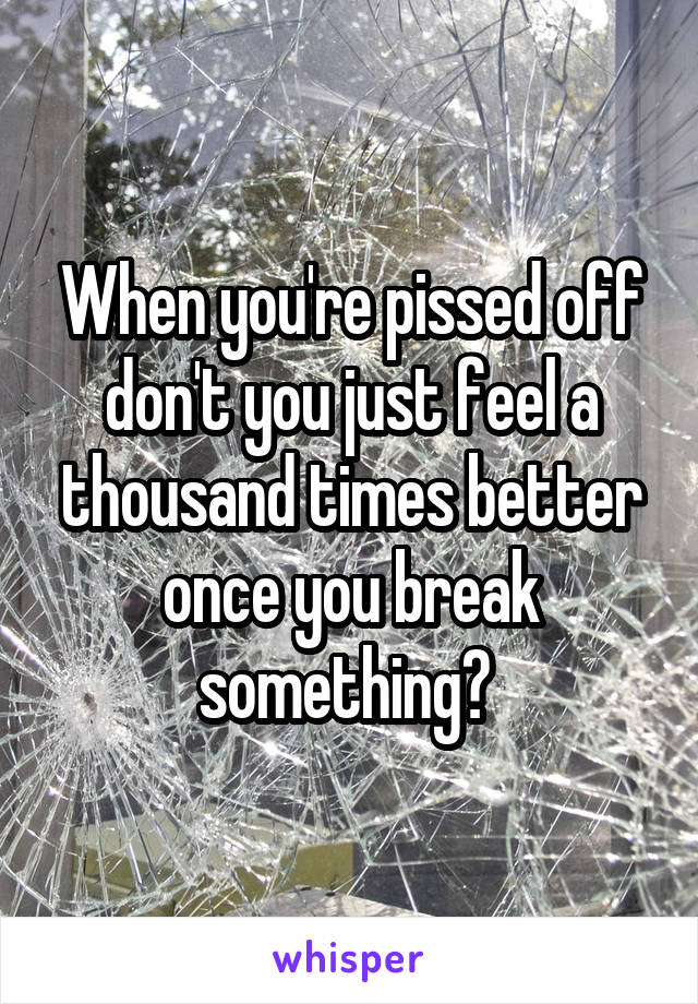 When you're pissed off don't you just feel a thousand times better once you break something?